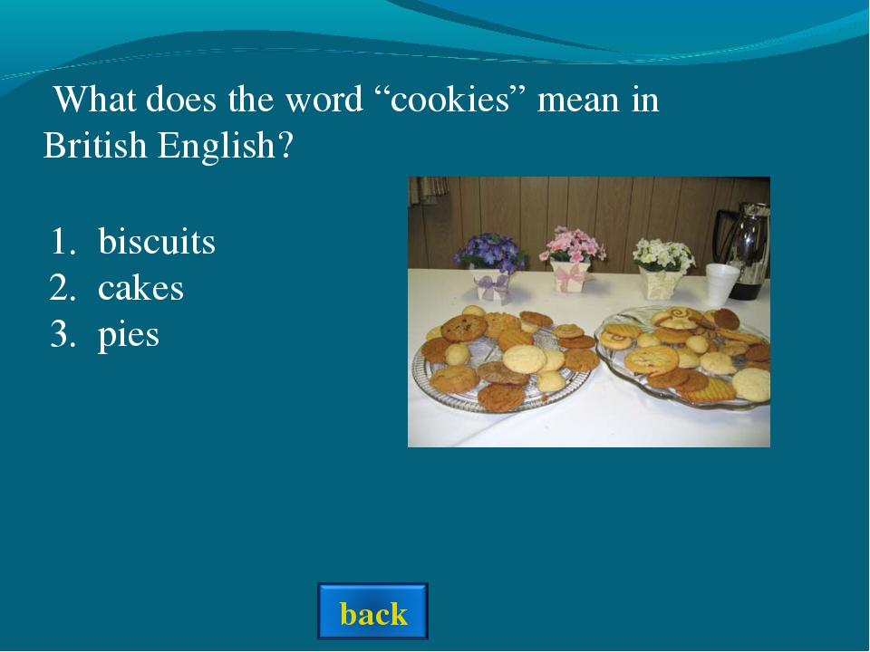 """What does the word """"cookies"""" mean in British English? biscuits cakes pies"""