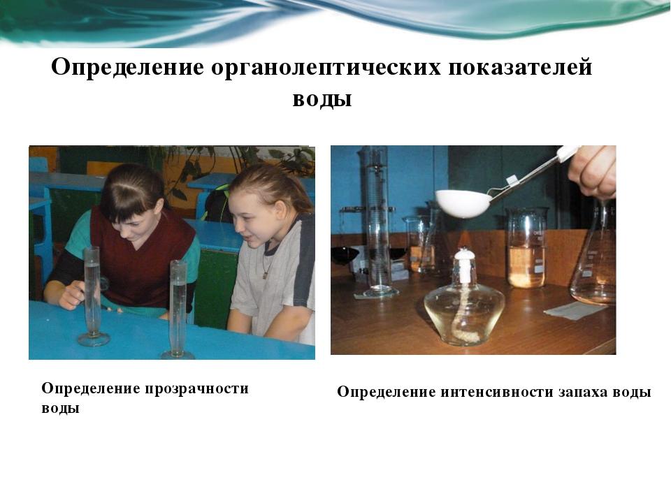 Определение органолептических показателей воды Определение прозрачности воды...