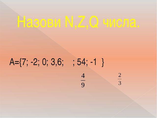 Назови N,Z,Q числа. A={7; -2; 0; 3,6; ; 54; -1 }
