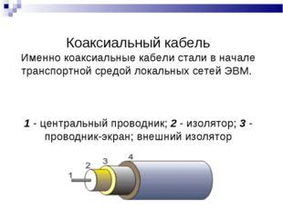 Коаксиальный кабель Именно коаксиальные кабели стали в начале транспортной ср
