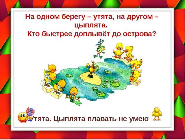 На одном берегу – утята, на другом – цыплята. Кто быстрее доплывёт до острова...