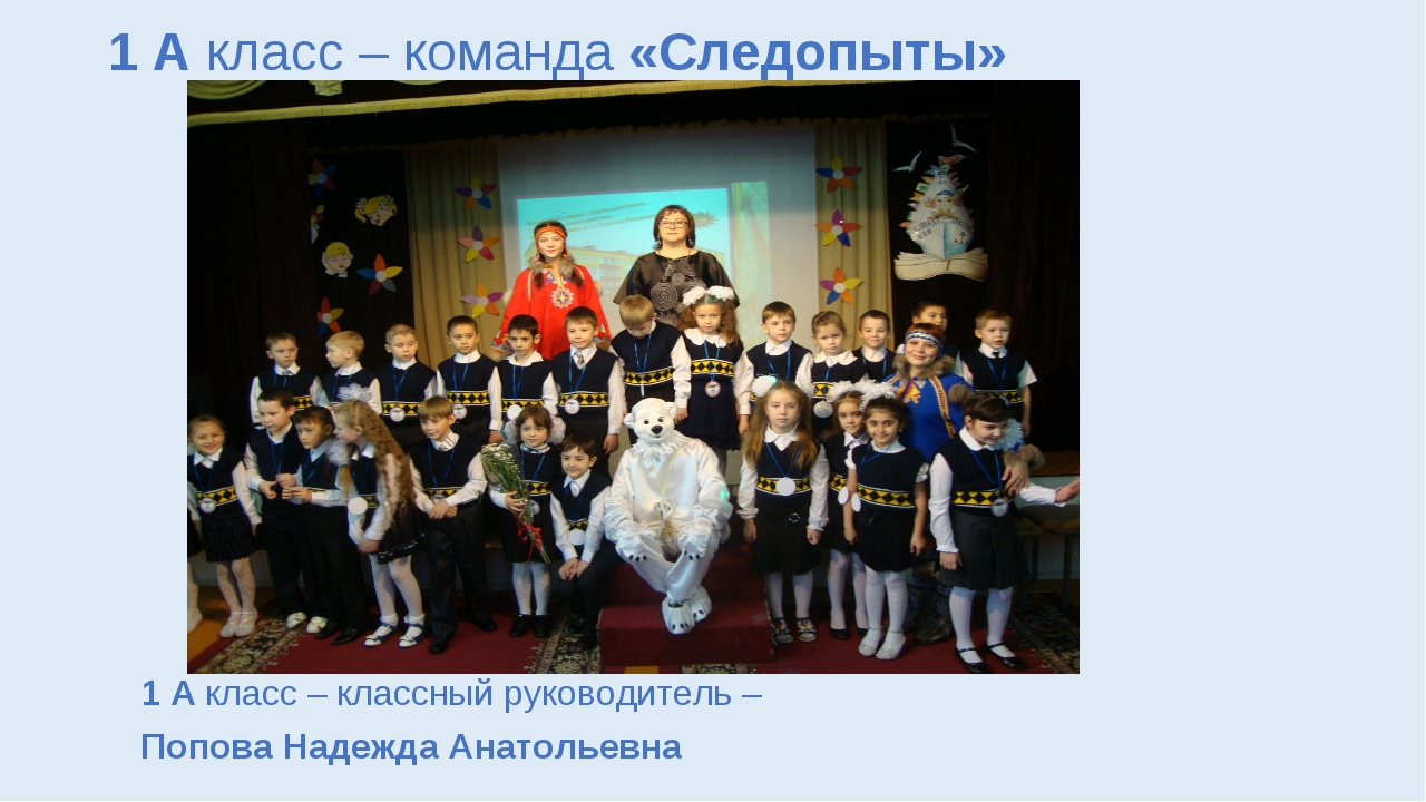 1 А класс – команда «Следопыты» 1 А класс – классный руководитель – Попова На...