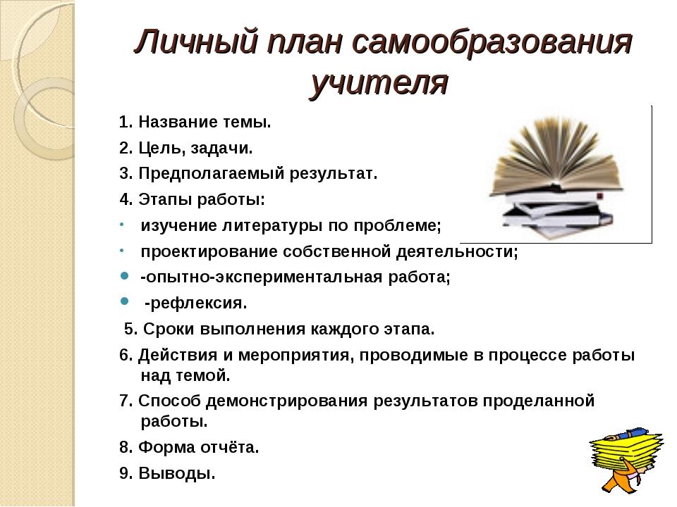 Личный план самообразования учителя  1. Название темы. 2. Цель, задачи. 3. П...