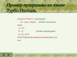 Пример программы на языке Турбо Паскаль. program Primer1; {Заголовок} var a,b