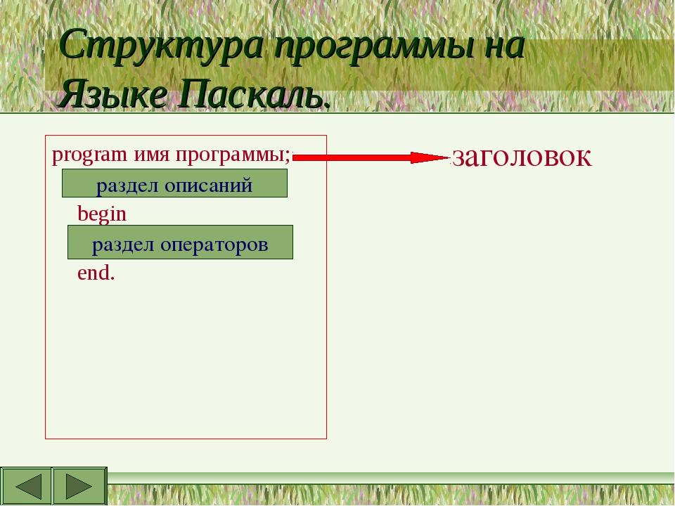 Структура программы на Языке Паскаль. program имя программы; begin end. разде...