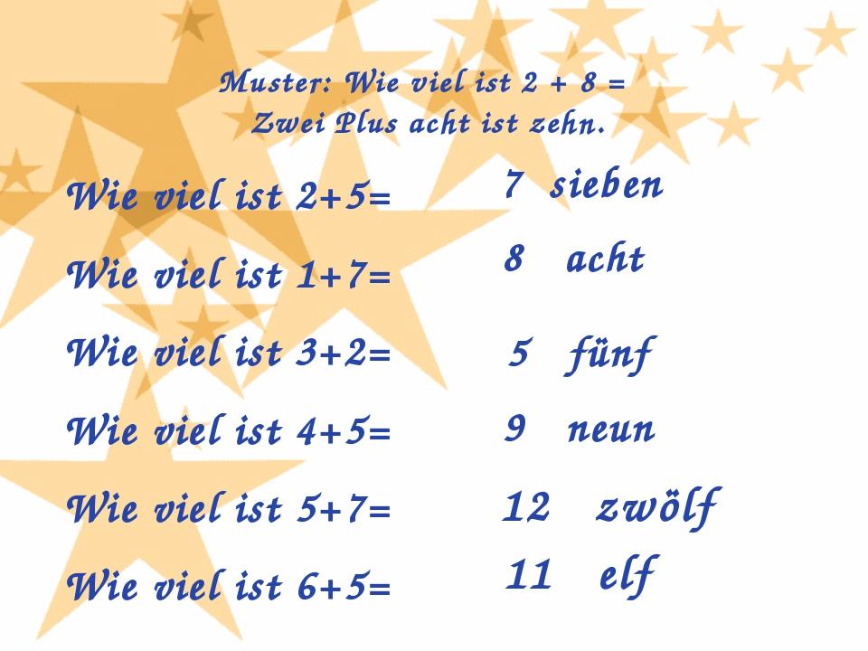 Muster: Wie viel ist 2 + 8 = Zwei Plus acht ist zehn. Wie viel ist 2+5= Wie v...