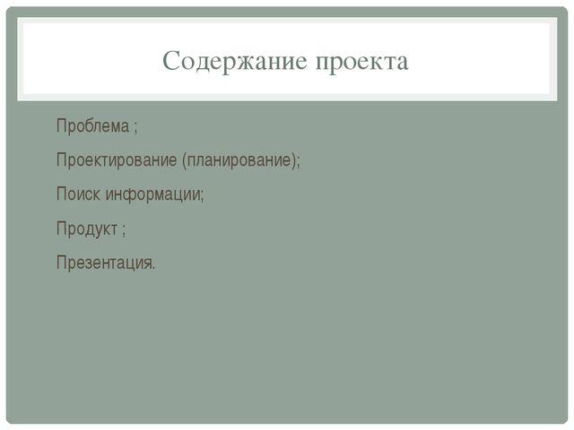 Содержание проекта Проблема ; Проектирование (планирование); Поиск информации...