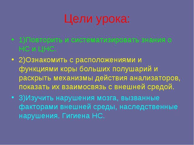 Цели урока: 1)Повторить и систематизировать знания о НС и ЦНС. 2)Ознакомить с...