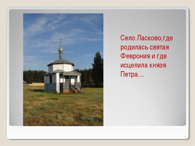 Село Ласково,где родилась святая Феврония и где исцелила князя Петра…