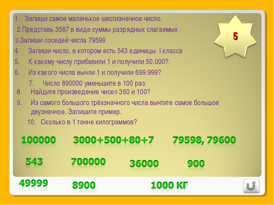 Запиши самое маленькое шестизначное число. 2.Представь 3587 в виде суммы разр...
