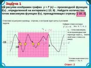 Задача 1 На рисунке изображен график y = f′ (x) — производной функции f(x) ,
