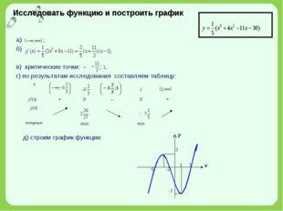 Исследовать функцию и построить график а) ; б) в) критические точки: - ; 1. г