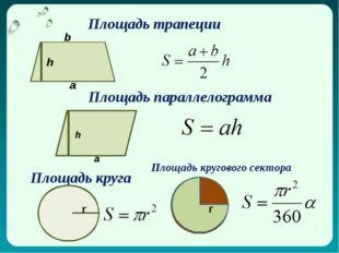 Площадь трапеции h a b Площадь параллелограмма h a Площадь круга r Площадь кр
