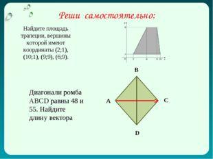 Найдите площадь трапеции, вершины которой имеют координаты (2;1), (10;1), (9;