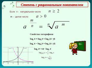 Степень с рациональным показателем Если n - натуральное число m - целое числ