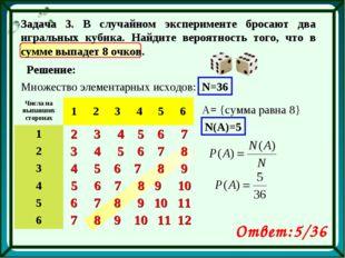 Задача 3. В случайном эксперименте бросают два игральных кубика. Найдите веро