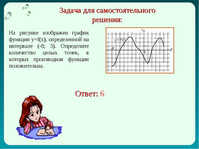 Задача для самостоятельного решения: На рисунке изображен график функции у=f(...