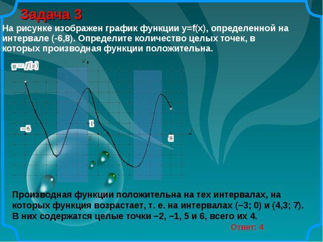 Задача 3 Ответ: 4 Производная функции положительна на тех интервалах, на кото...