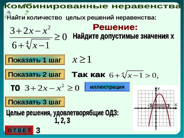 Найти количество целых решений неравенства: Показать 1 шаг Показать 2 шаг илл...