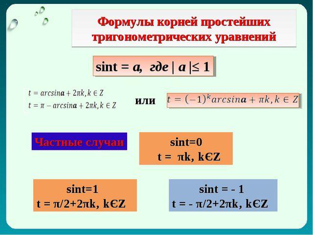 Формулы корней простейших тригонометрических уравнений sint = а, где | а |≤ 1...