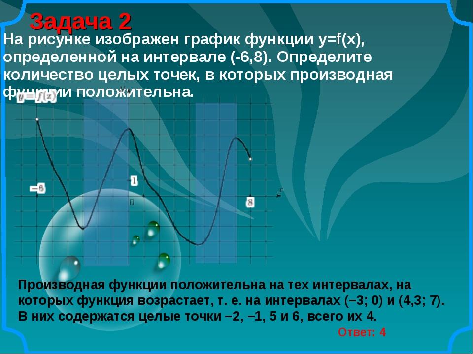 Задача 2 Ответ: 4 Производная функции положительна на тех интервалах, на кото...