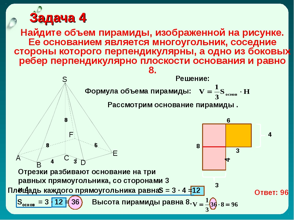 Задача 4 Найдите объем пирамиды, изображенной на рисунке. Ее основанием явля...