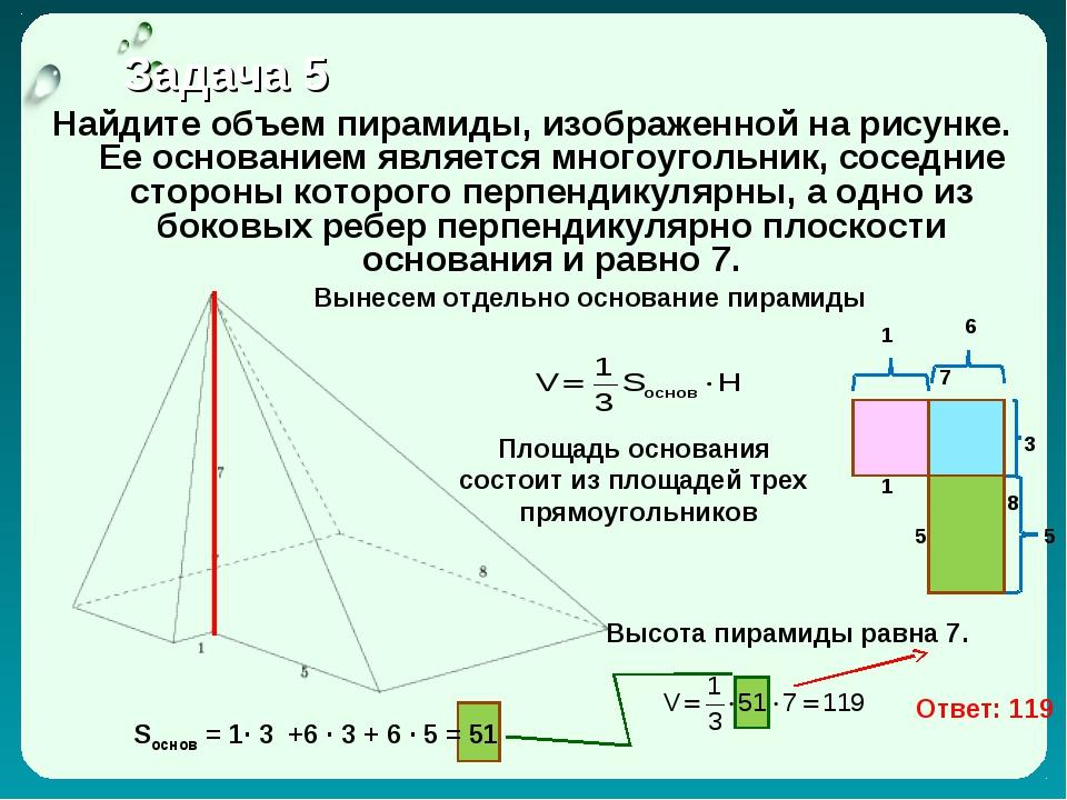 Задача 5 Найдите объем пирамиды, изображенной на рисунке. Ее основанием явля...