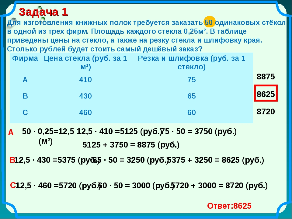Задача 1 Для изготовления книжных полок требуется заказать 50 одинаковых стёк...