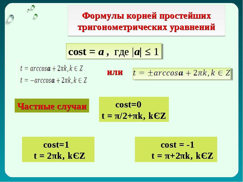 Формулы корней простейших тригонометрических уравнений cost = а , где |а| ≤ 1...