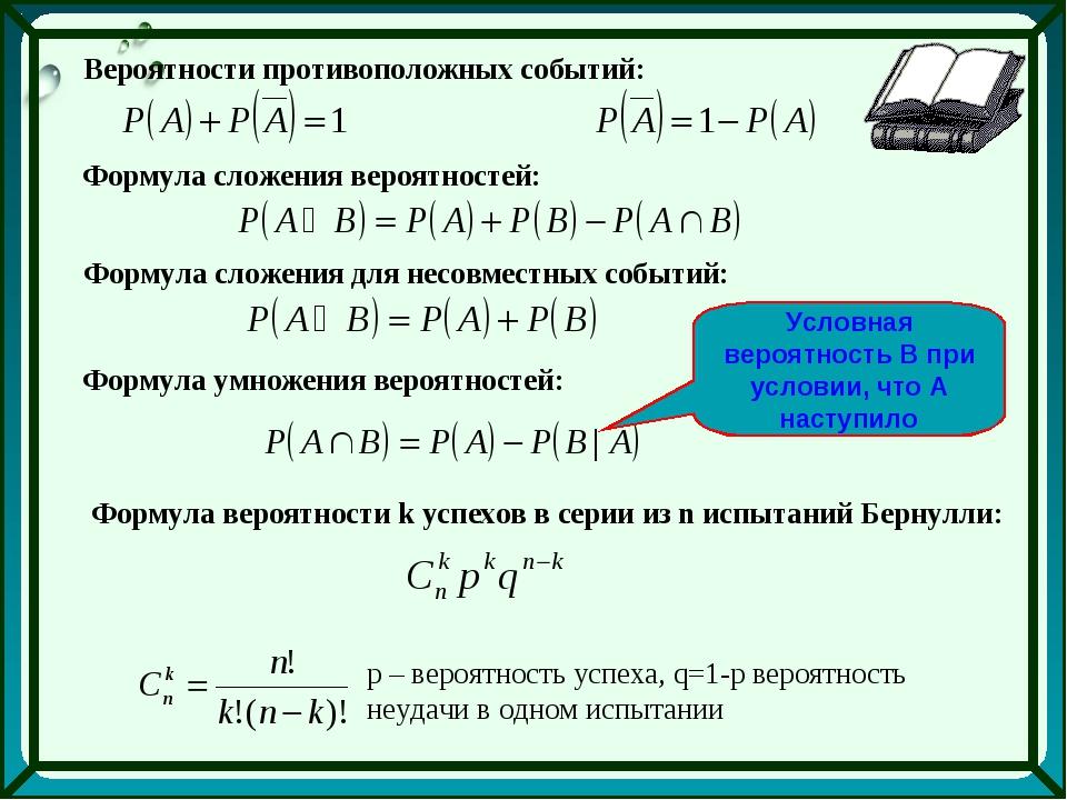 Вероятности противоположных событий: Формула сложения вероятностей: Формула с...