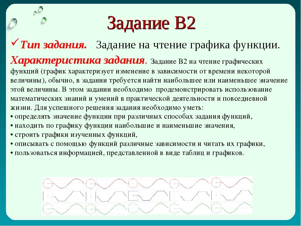 Задание В2 Тип задания. Задание на чтение графика функции. Характеристика зад...