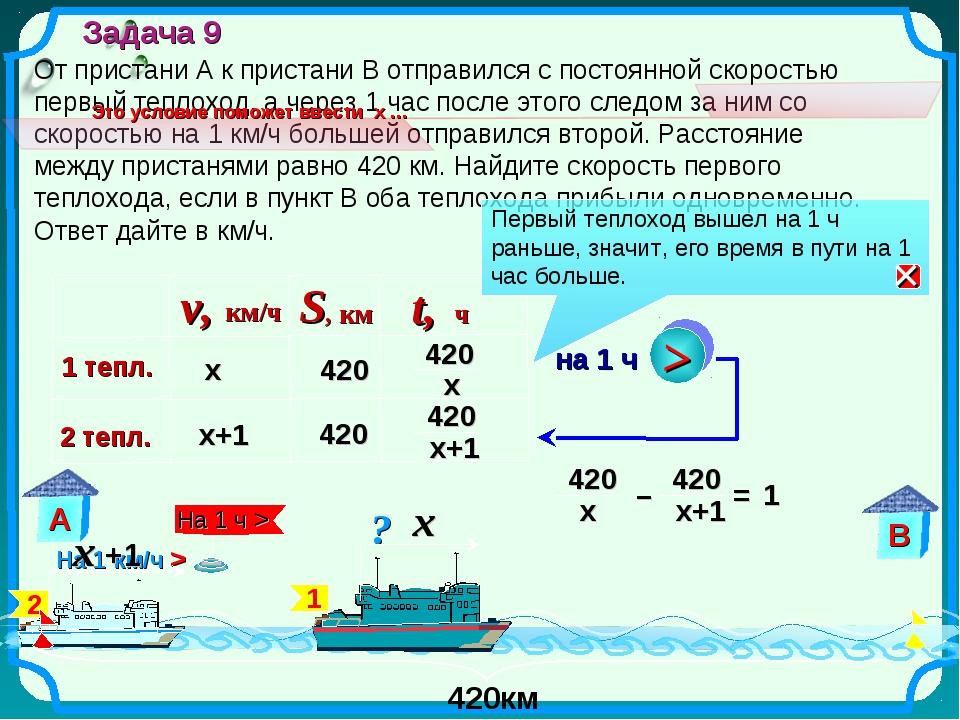 От пристани А к пристани В отправился с постоянной скоростью первый теплоход,...