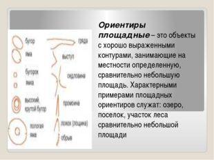 Ориентиры площадные– это объекты с хорошо выраженными контурами, занимающие