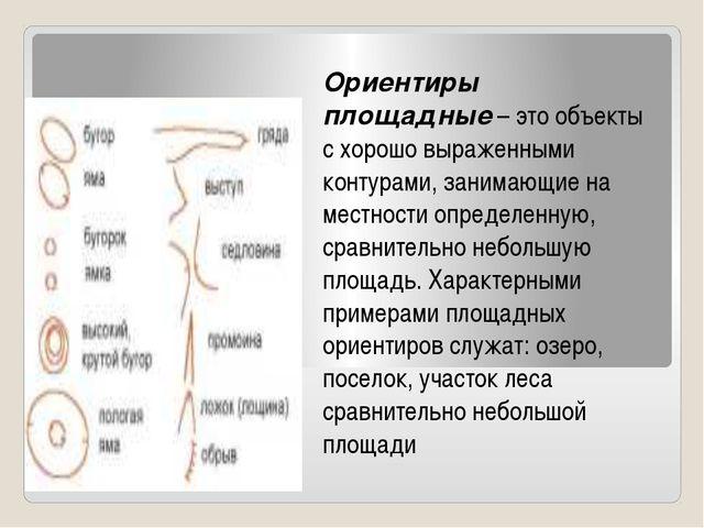 Ориентиры площадные– это объекты с хорошо выраженными контурами, занимающие...