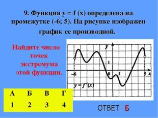 9. Функция у = f (х) определена на промежутке (-6; 5). На рисунке изображен г