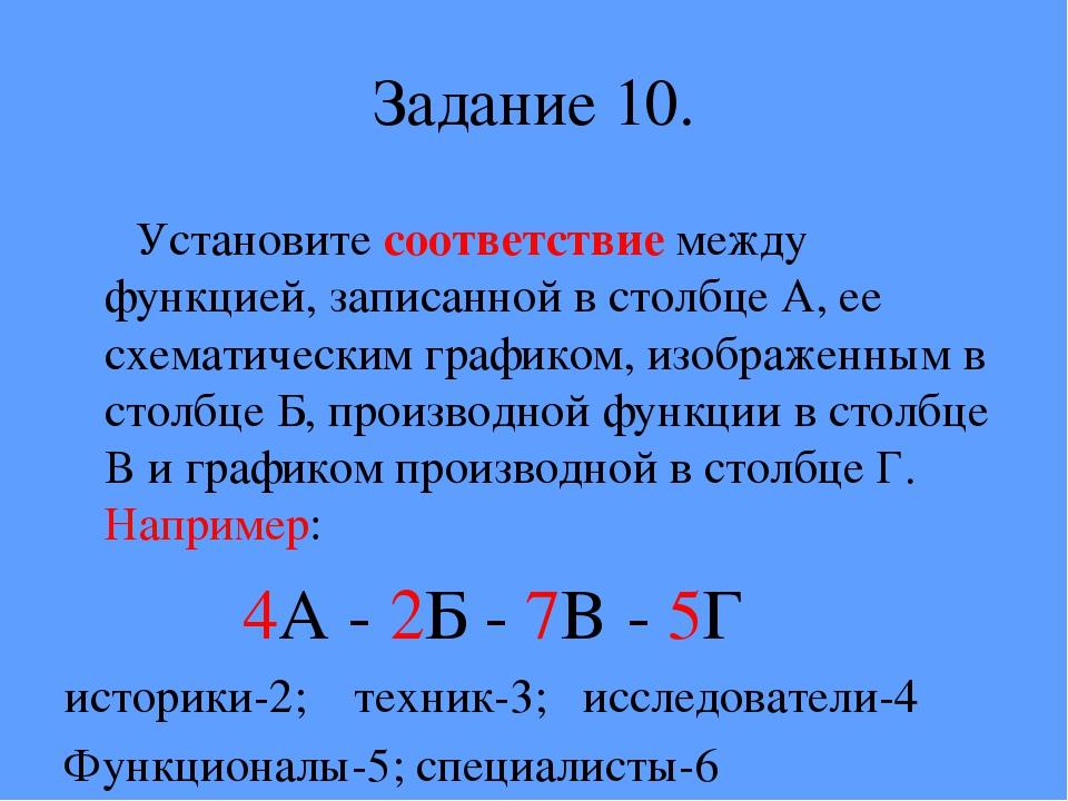 Задание 10. Установите соответствие между функцией, записанной в столбце А, е...