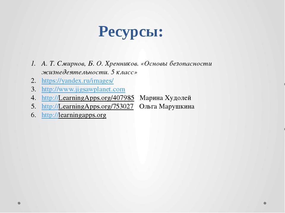 Ресурсы: А. Т. Смирнов, Б. О. Хренников. «Основы безопасности жизнедеятельнос...
