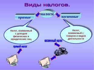 налоги косвенные прямые Налог, взимаемый с доходов физических и юридических л