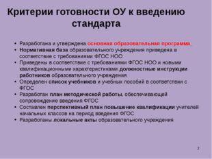 Разработана и утверждена основная образовательная программа Нормативная база
