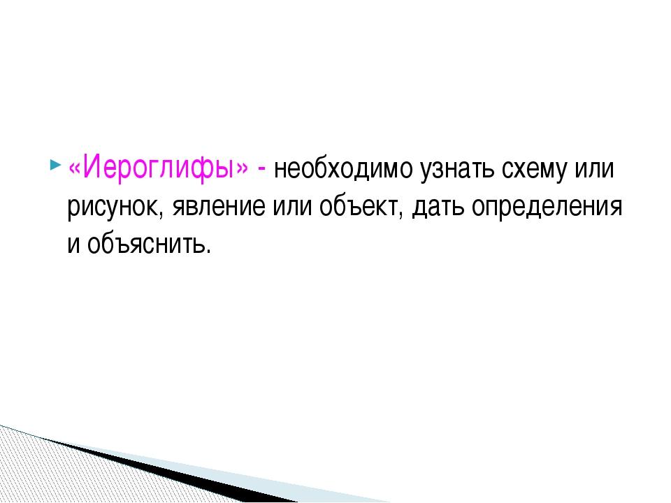 «Иероглифы» - необходимо узнать схему или рисунок, явление или объект, дать...