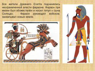 Все жители Древнего Египта подчинялись неограниченной власти фараона. Фараон
