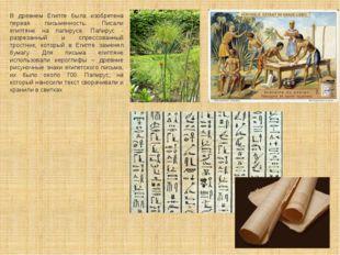 В древнем Египте была изобретена первая письменность. Писали египтяне на папи