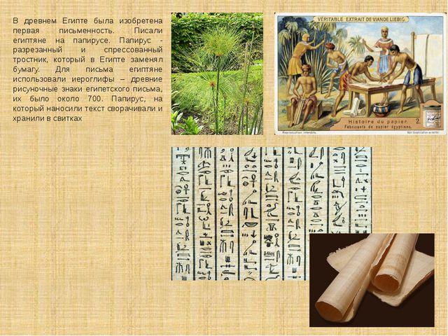 В древнем Египте была изобретена первая письменность. Писали египтяне на папи...