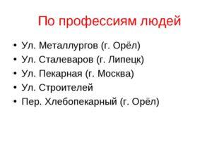 По профессиям людей Ул. Металлургов (г. Орёл) Ул. Сталеваров (г. Липецк) Ул.