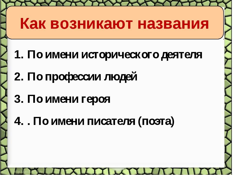 По имени исторического деятеля По профессии людей По имени героя . По имени п...