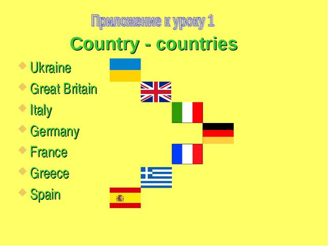 Country - countries Ukraine Great Britain Italy Germany France Greece Spain