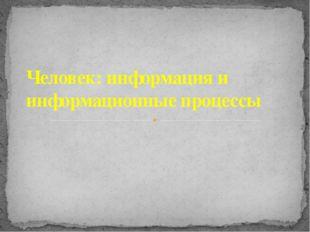 Человек: информация и информационные процессы