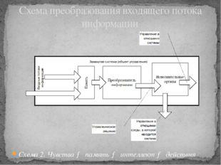 Схема 2. Чувства → память → интеллект → действия Схема преобразования входяще