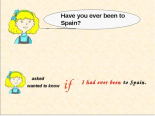 asked wanted to know Have you ever been to Spain? if I had ever been to Spain.