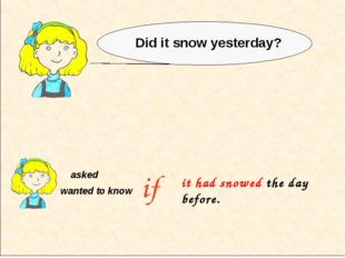 asked wanted to know Did it snow yesterday? if it had snowed the day before.